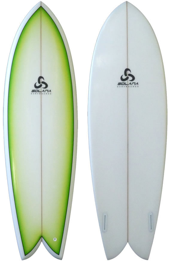 green fade retro fish surfboard