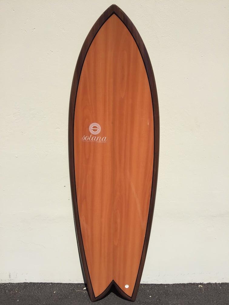 Double Wood Dark Twin Fin Retro Fish Surfboard