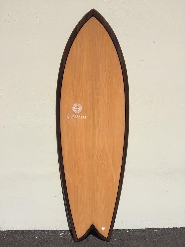 Double Wood Light Twin Fin Retro Fish Surfboard