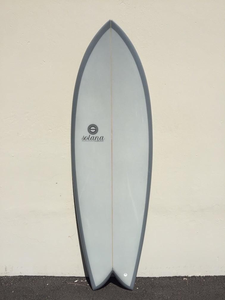 Grey Twin Fin Retro Fish Surfboard