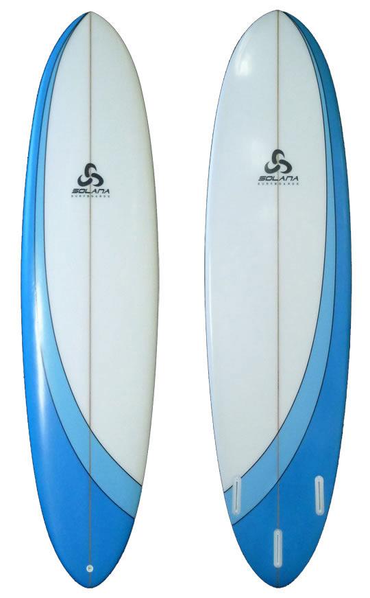 Blue swoosh hybrid funboard surfboard for Hybrid fish surfboard