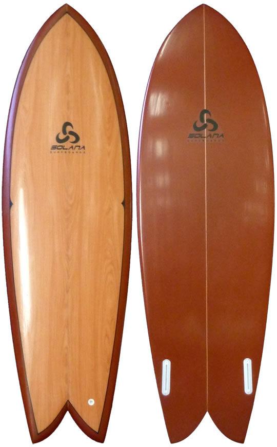Classic Wood Retro Fish Surfboard